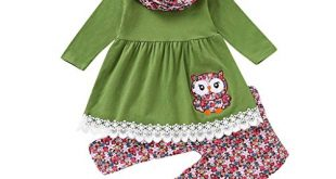Children Kids Girls Cartoon Embroider Owl DressFloral PantsScarf Set Outfit 310x165 - Children Kids Girls Cartoon Embroider Owl Dress+Floral Pants+Scarf Set Outfit