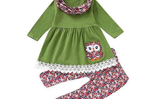 Children Kids Girls Cartoon Embroider Owl DressFloral PantsScarf Set Outfit 500x330 - Children Kids Girls Cartoon Embroider Owl Dress+Floral Pants+Scarf Set Outfit